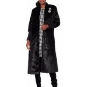 Wendy Williams Black Fitted Sleeves Faux Fur Coat